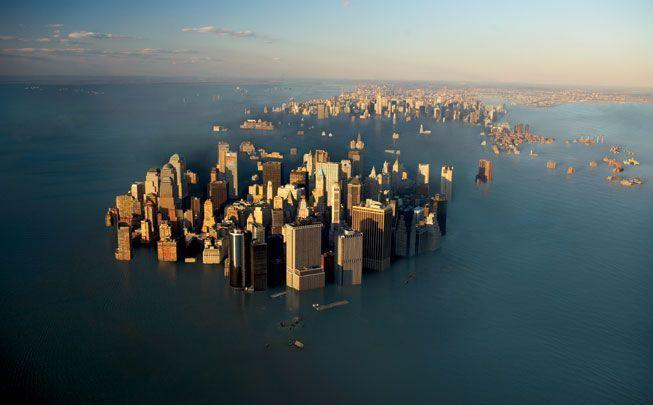 Imágen ficticia de Manhattan inundada por el deshielo.