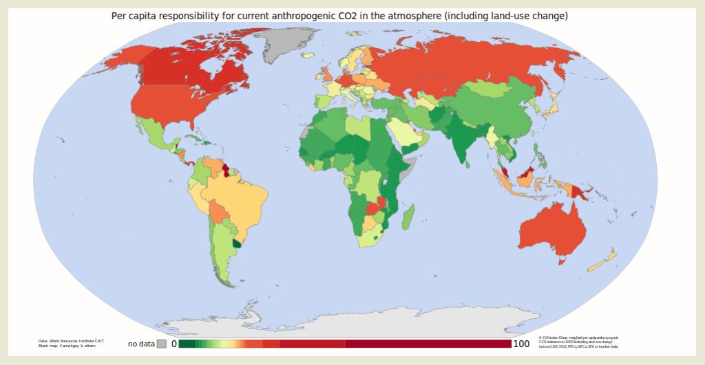 Huella de carbono por regiones