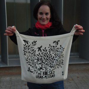 Bolsa de compras algodón ecológico, hecha en Barcelona en una empresa de integración social de personas con discapacidad