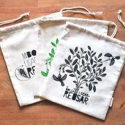 Pack de bolsas de compras a granel de algodón orgánico de Usar y Reusar