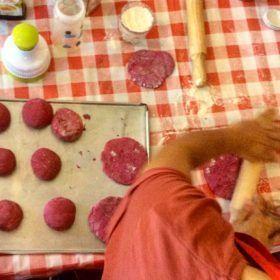 El pan pita de remolacha.Cocina residuo cero