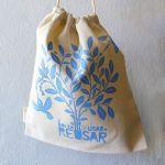 Reverso de bolsas de compras a granel de algodón orgánico de Usar y Reusar