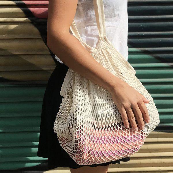 bolsa de malla de algodón orgánico crudo