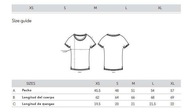 Camisetas de algodón orgánico rounder. Guía de tallas