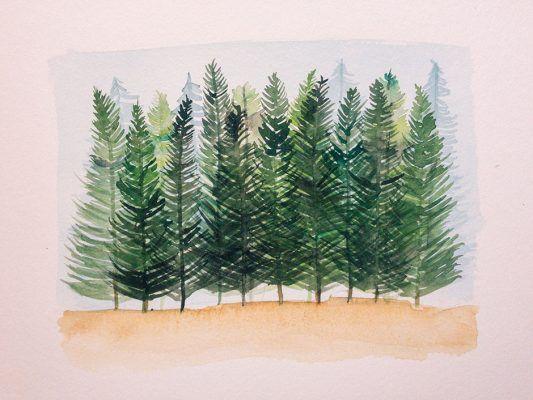 Bosque en acuarela por el día mundial del medio ambiente